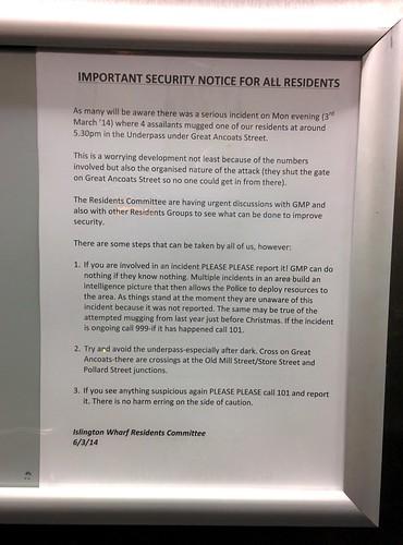 Warning in Islington Wharf lifts