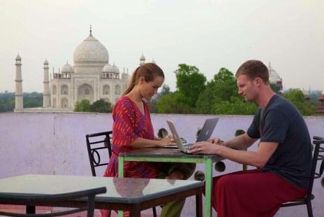 Both working Taj Mahal closed, India 2014