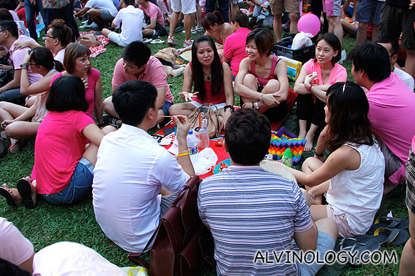 Friends gathered for picnic