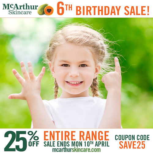 Take 25% OFF ALL McArthur Skincare for our 6th Birthday Celebration