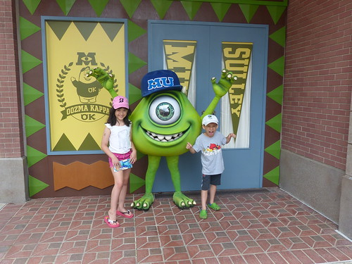 Mike and the kids in Hong Kong Disneyland