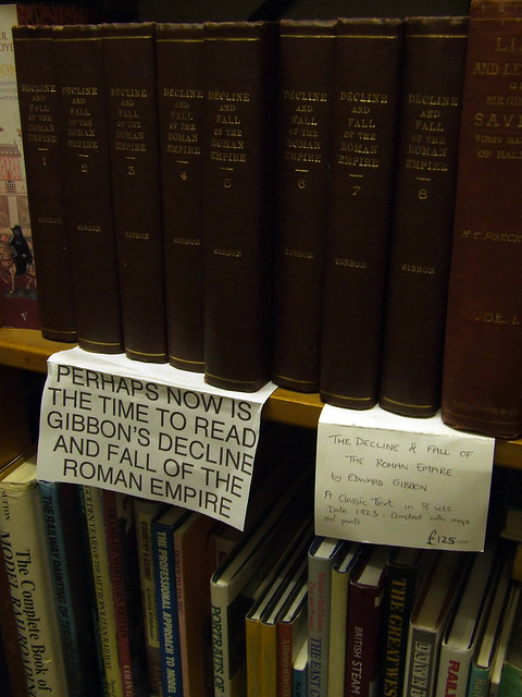 sign in a British bookstore