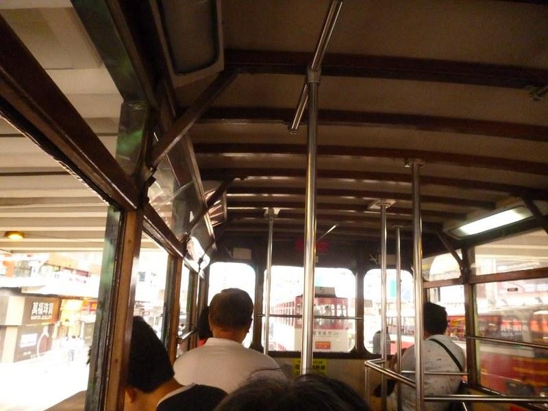 Upper level of a double decker tram in Hong Kong