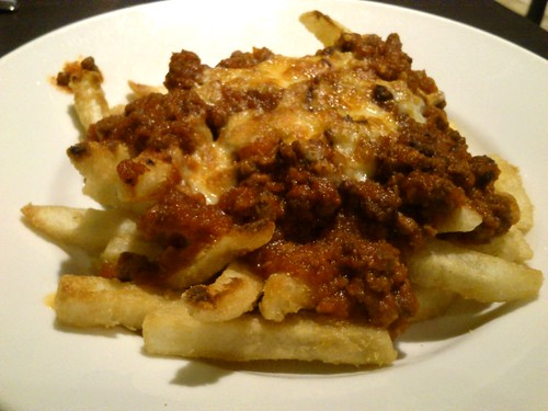 French Fries Baked with Meat Sauce and Cheese