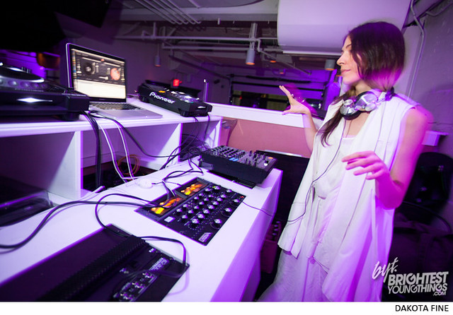 "Caroline Polachek of Chairlift guest DJs the BYT/Phillips Collection ""UnStill Life\"" afterparty at Malmaison in Washington, D.C. on July 11, 2013"