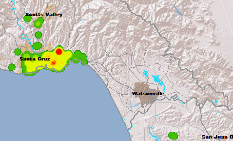 Bicycle heat map Santa Cruz County