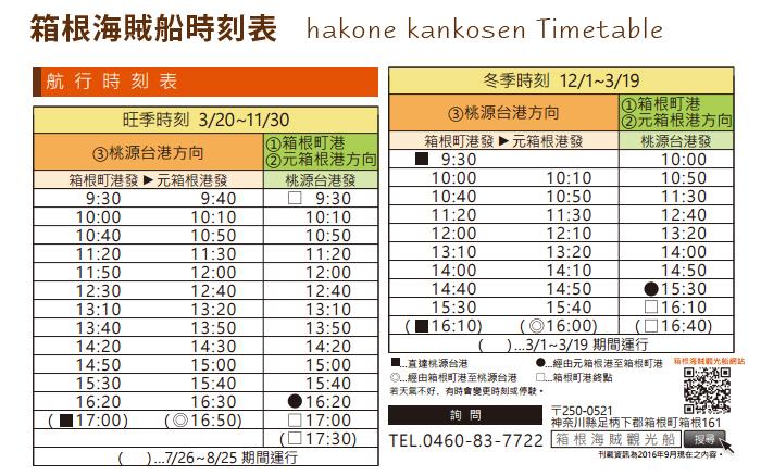箱根海賊船時刻表