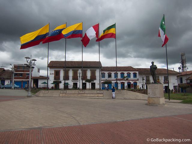 Plaza Independiente in the city of Zipaqueria north of Bogota