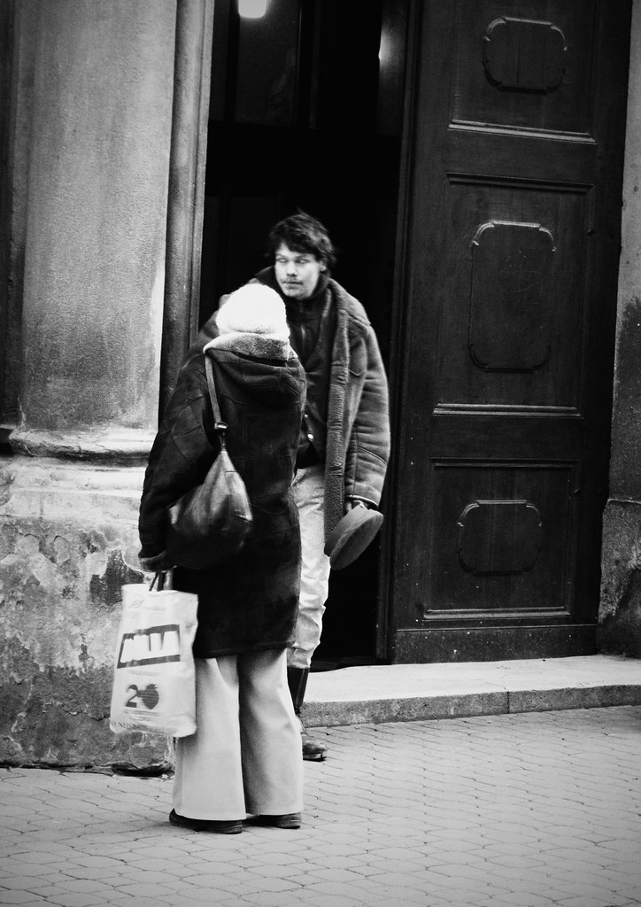 Beggar and Lady Leaving a Church