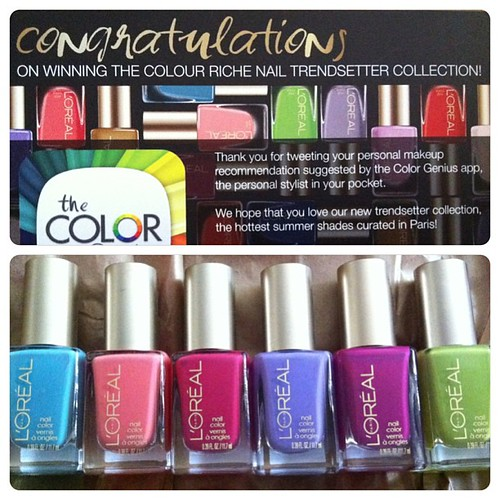 Wooo thanks #lorealparis for the giveaway! Can't wait to play xD #colorgenius#nailpolish#polishaddict#colourrichenailtrendsettercollection#instacollage#notacloudinsight#irangeyoujealous#crazyforchic#royaltyreinvented#membersonly#newmoney