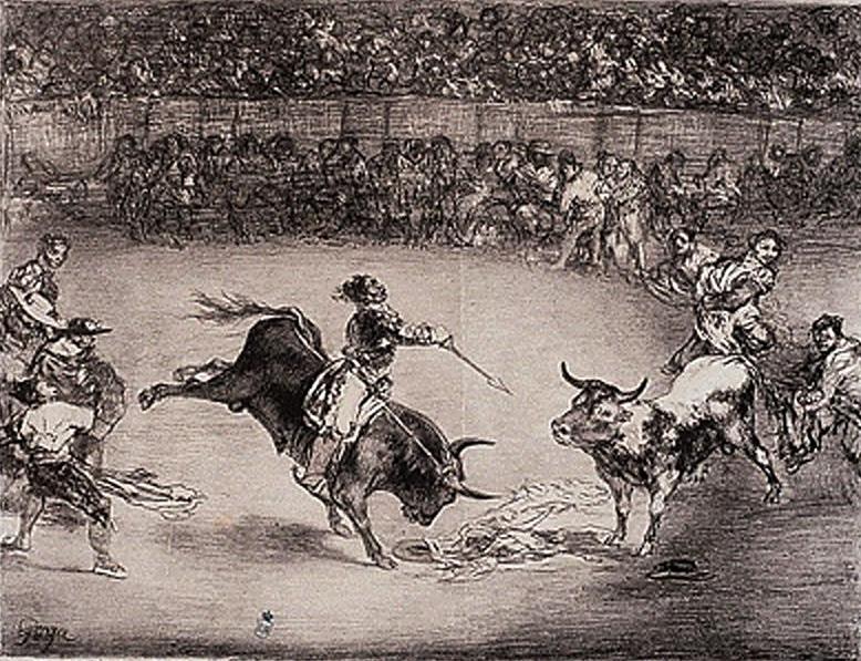 Espectáculo en la plaza en el siglo XIX. Obra de Francisco de Goya (1824-25)