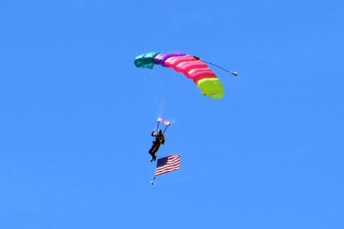 Parachutist with American flag