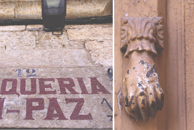 typography and door knob ciudad rodrigo
