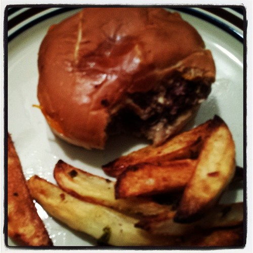 Just an old-fashioned Cheddar-Mushroom Burger with Parmesan-Cilantro Oven Fries. #foodie #ieatthereforeiam by Jennifer O'Connell