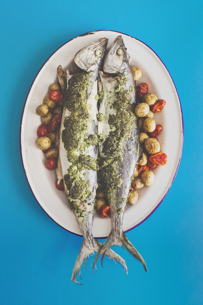 six course dinner: Mackerel in Parchment