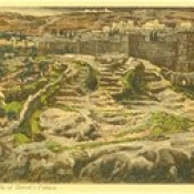 """Phillip Medhurst presents 399/740 James Tissot Bible c 1900 Reconstruction of Golgotha and the Holy Sepulchre seen from the walls of Herod's palace from """"La Vie de Notre Seigneur Jésus Christ"""