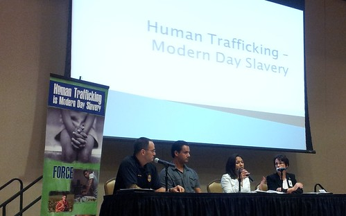 Panelists engaging the audience and educating them about trafficking and slavery