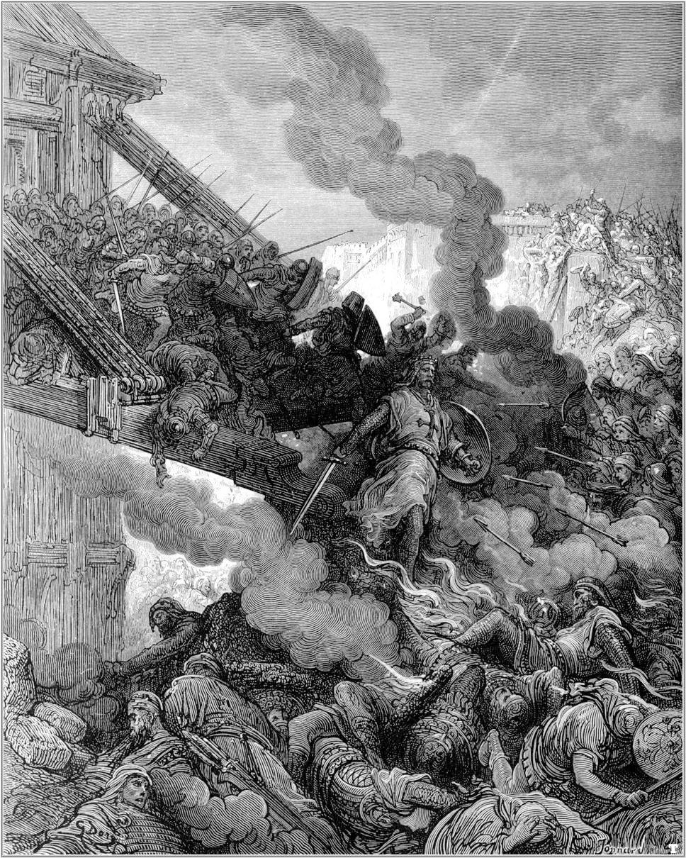3. El ejército cristiano toma las murallas. De la obra Las Cruzadas. Gustavo Doré (1832-1883)