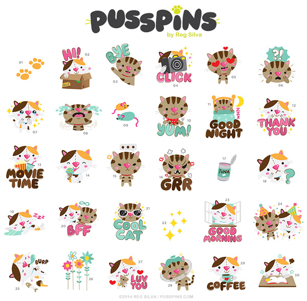 Pusspins stickers for InstaSize
