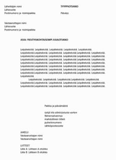 Virallisen kirjeen asemointimalli