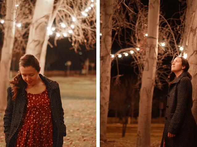 Vestido flores, luces navidad