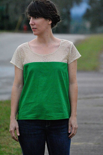 Lace Color Blocked Scout Tee
