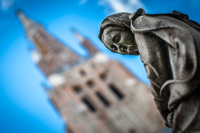 Statue by Church of Our Lady in Bruges