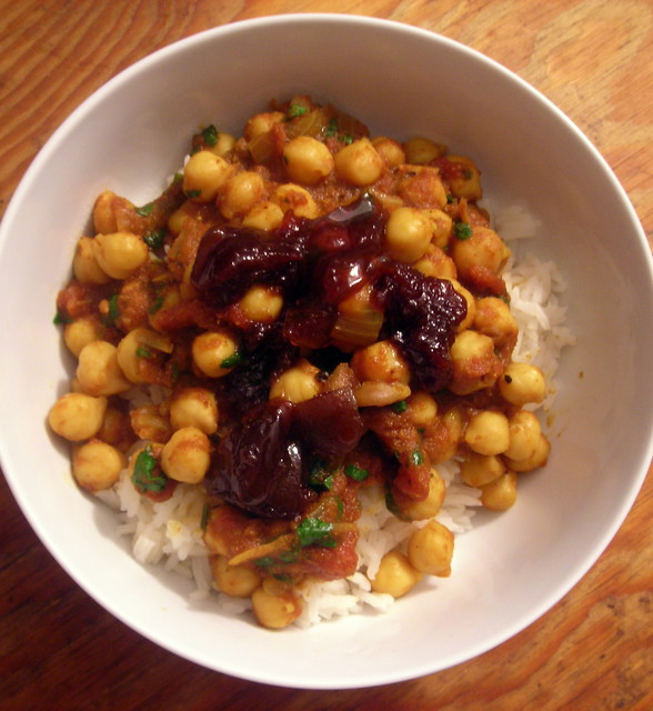 Chana masala, basmati rice, lime pickle