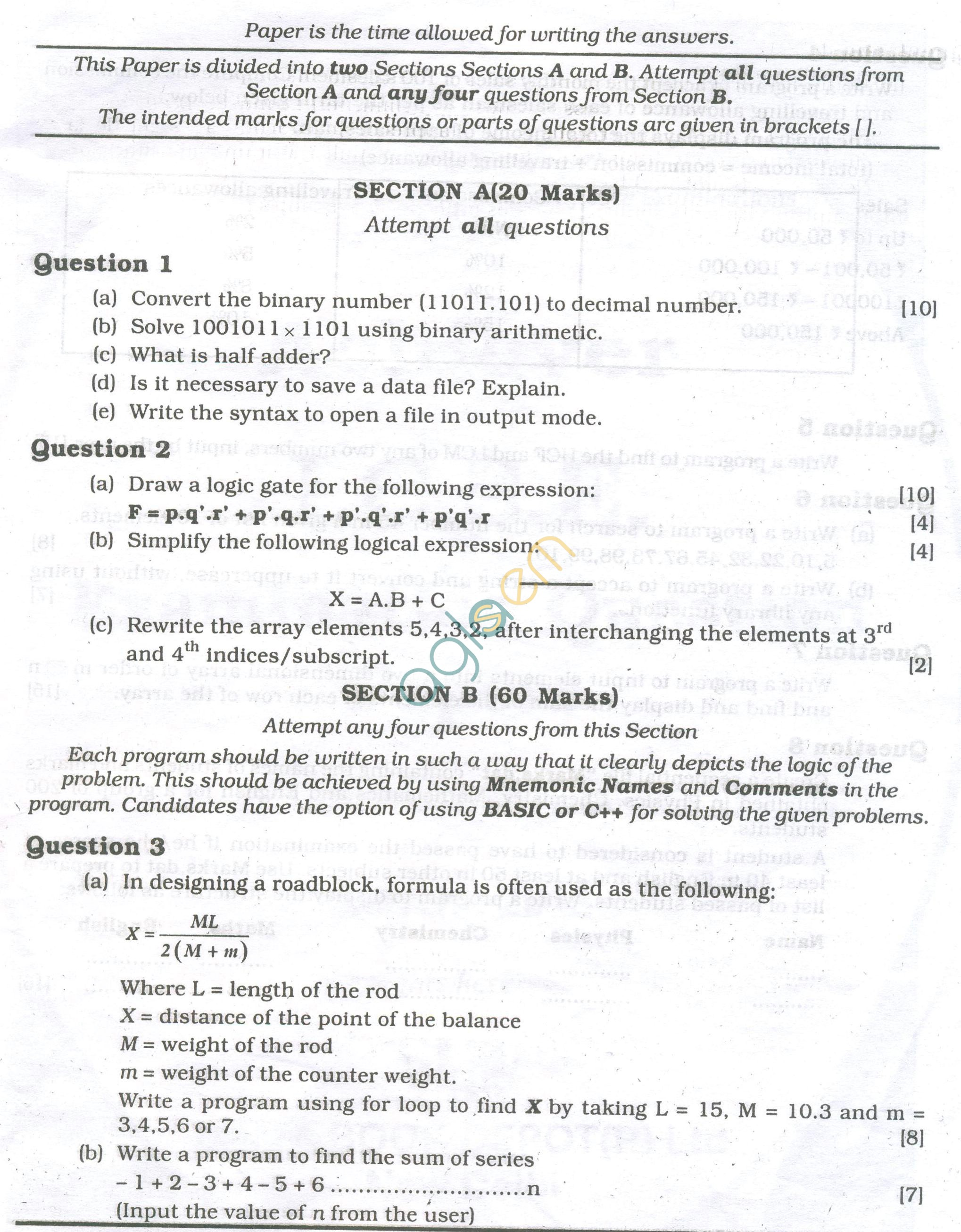 Icse Question Papers For Class 10