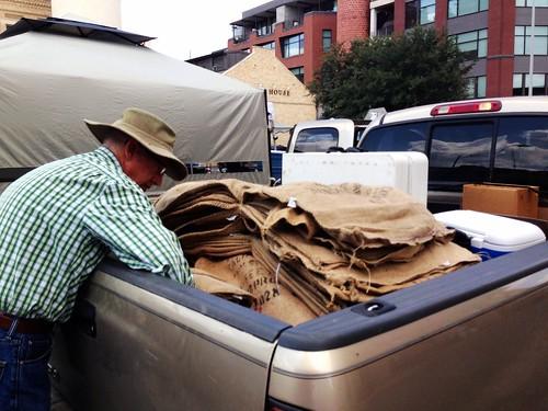 loading up 220 burlap bags