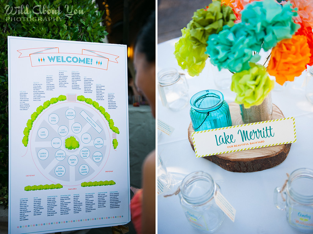 seating chart and rustic table display