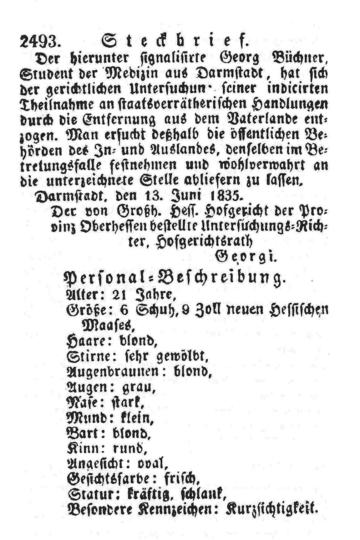 Steckbrief Georg Büchner, 1835