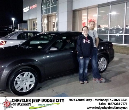Thank you to Grace  Bellows on your new 2014 #Dodge #Avenger from Carlos Sisk and everyone at Dodge City of McKinney! #NewCar by Dodge City McKinney Texas