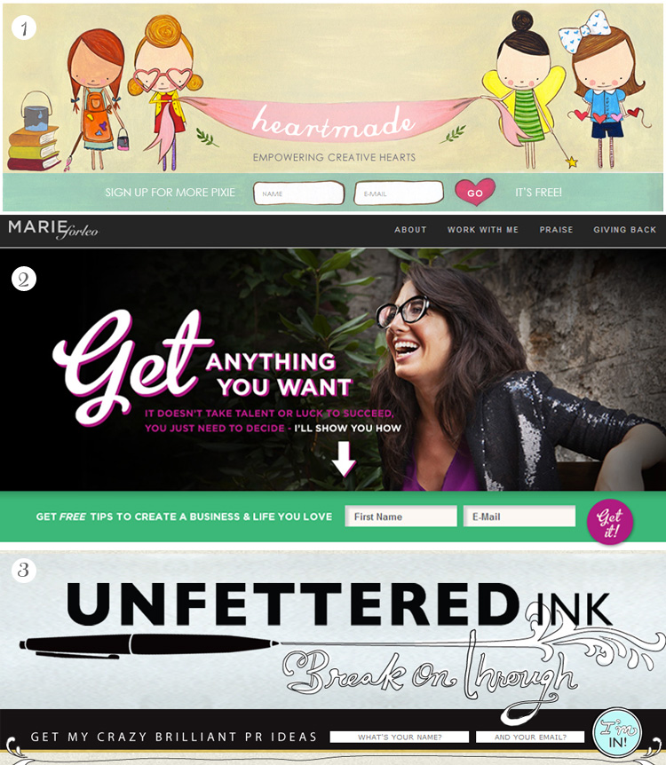 Some pretty cute horizontal opt-in and subscribe form inspiration for your blog's header. See more at http://DesignYourOwnBlog.com