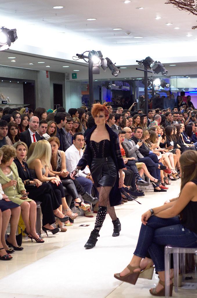 Black mini skirt in the runway