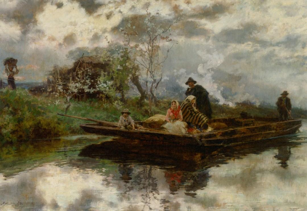 Campesinos en la niebla. Francisco Pradilla y Ortiz. Óleo sobre lienzo, 1907