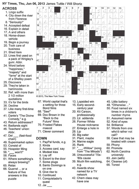 NYT Thursday Puzzle - June 6, 2013