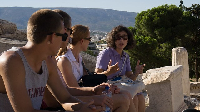 At Theater of Dionysus with our guide Demetra Potsika