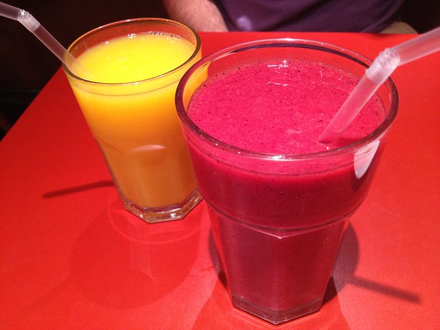 Raspyberry Heaven smoothie and OJ - Patisserie Valerie