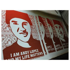 Posters printed for the protest march in downtown Santa Rosa an noon. Callo g for Justice for Andy Lopez who at 13 became an ancestor too soon after being shot to death by police. Thanks to @muertealpoder who pulled a super long night to get these printed