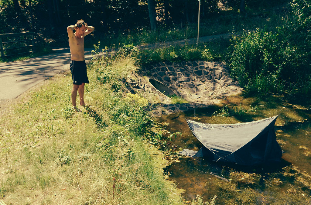 38 tent blows into pond while drying