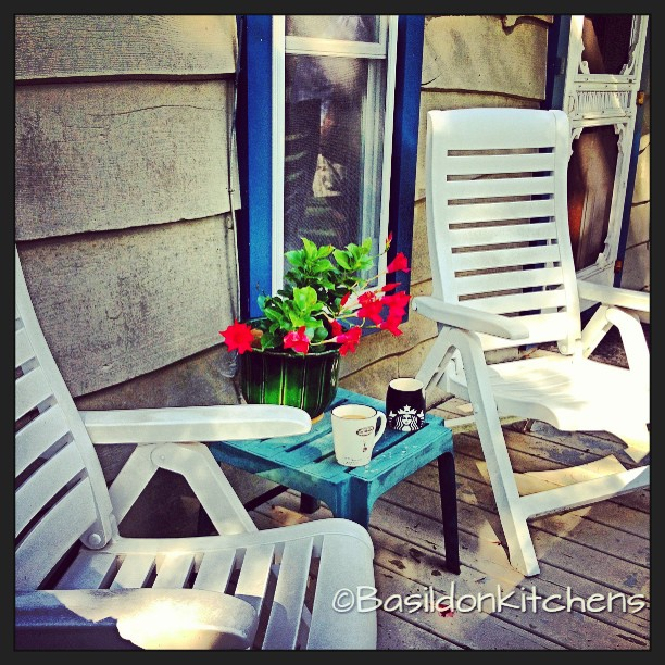 Sep 1 - together {this is my favorite spot to sit TOGETHER with my hubby for our morning coffee; or afternoon cocktails } #fmsphotoaday #together #coffee #mug #porch #homesweethome