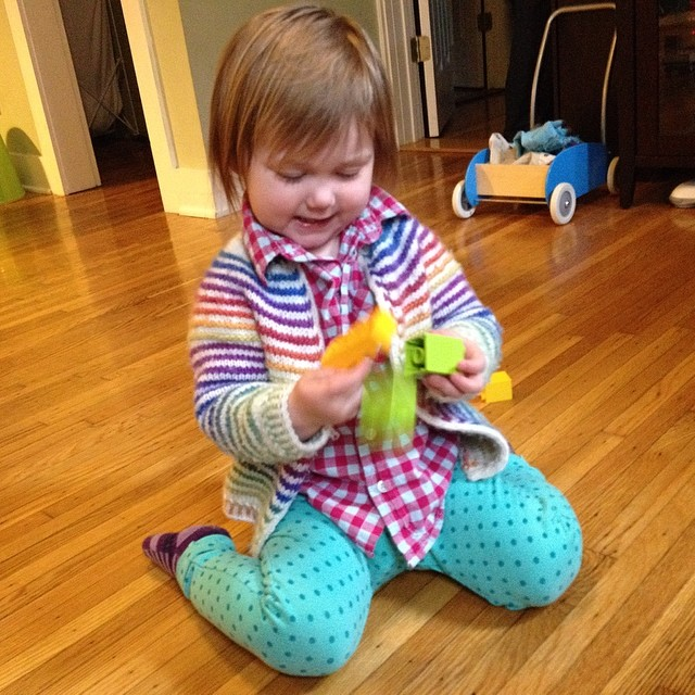 Maddy picked out quite the outfit: polkadots, checks, stripes, and ALL the colors!