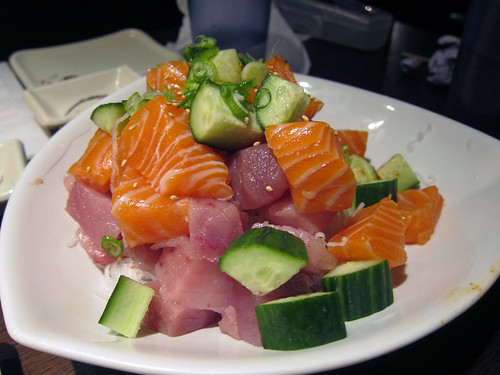 Spicy Tuna and Salmon Sashimi