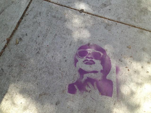 Random face sidewalk stencil