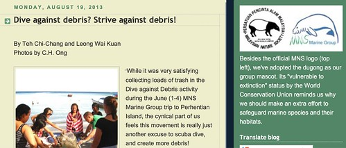 MNS Marine Group, Selangor Branch: Dive against debris? Strive against debris!