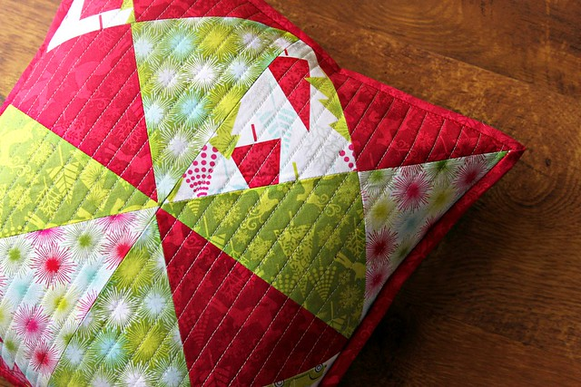 Hip Holiday Quilted Patchwork Pillow 2
