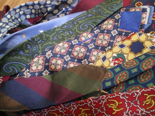 soie laine cravate ouvrage patchwork