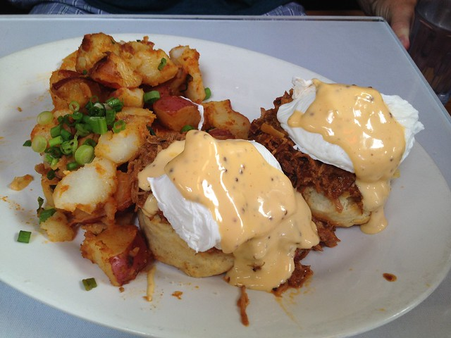 Pulled pork eggs benedict - Brenda's French Soul Food