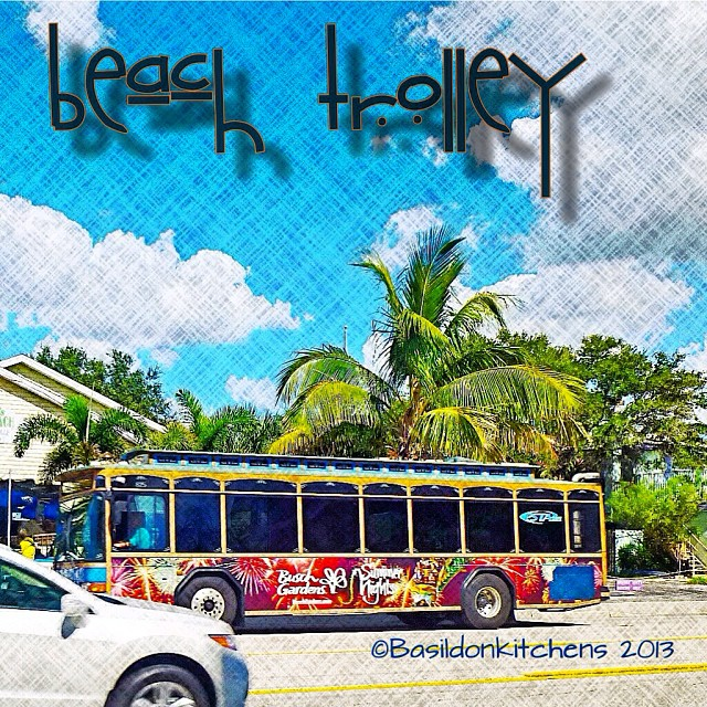 Sep 29 - train {there is no train near me today, so here is the local beach trolley that travels the whole length of Gulf Blvd from Clearwater to St Pete's Beach} #photoaday #florida #trolley #gulfblvd
